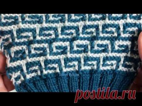 Греческий орнамент / Мозаичное вязание / Вязание спицами.