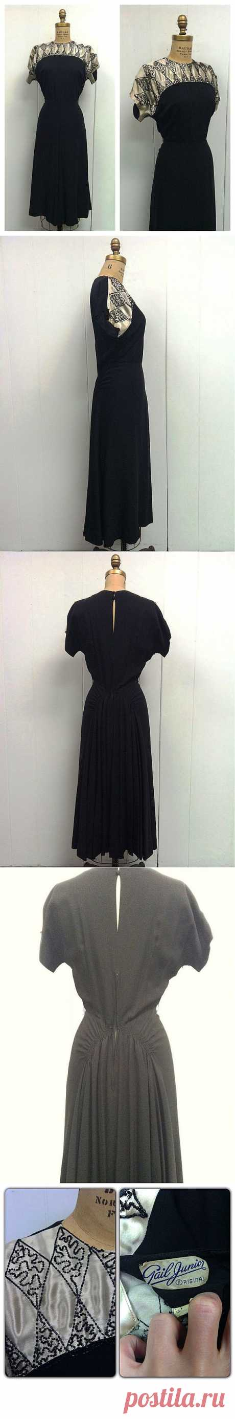 1940s Black Party Dress 40s от CreatedAndCollected на Etsy