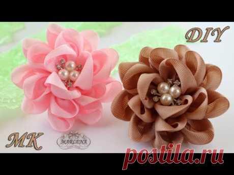 🌸 Цветы-банты из репсовых лент. Резиночки для волос. Канзаши МК/DIY - YouTube