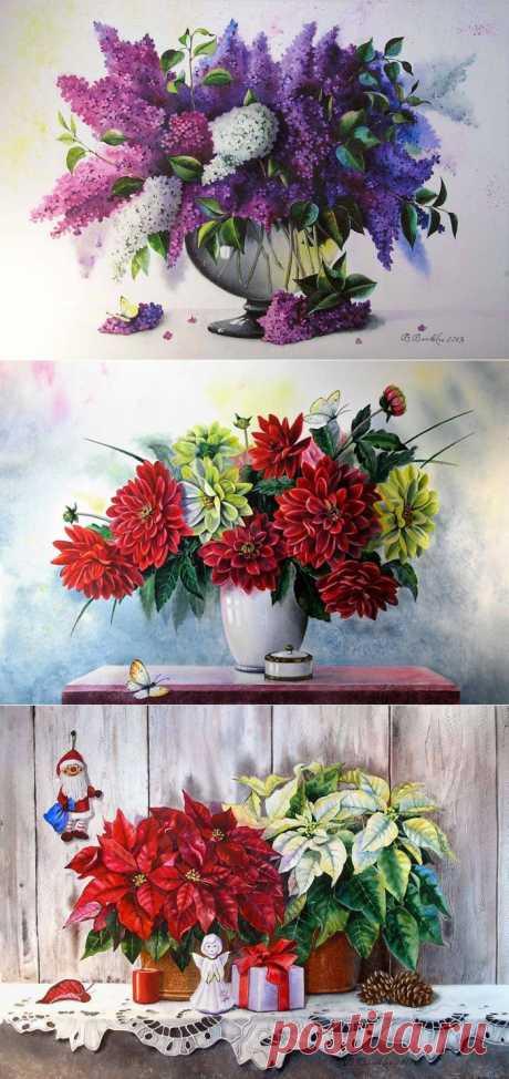 Великолепные букеты цветов от украинской художницы Валентины Валевской