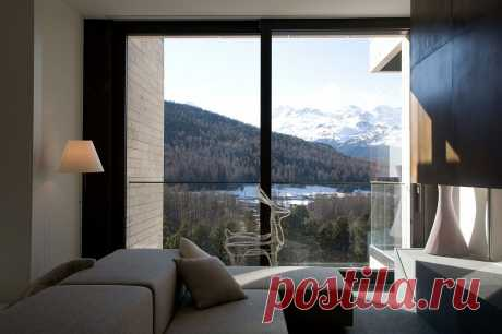 Шикарные минималистские апартаменты с потрясающим видом на Швейцарские Альпы
