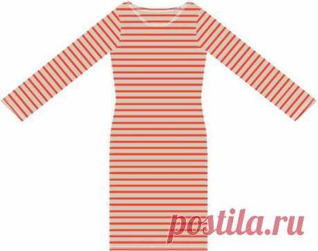 Базовое трикотажное платье #Готовые_выкройки на размеры 42-52 (российские)