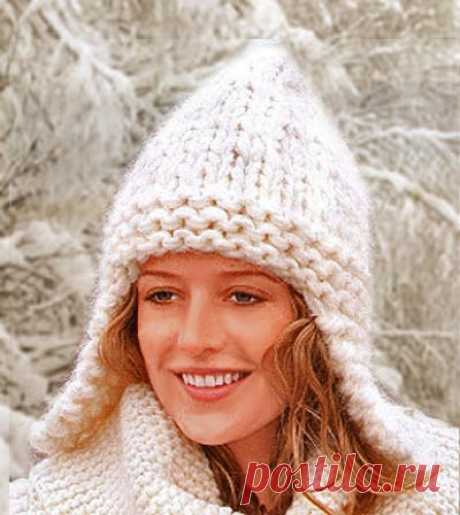 За Один Вечер — женская шапка крупной вязкой спицами с ушками  |  Вязаные зимние шапки | ВЯЗАНИЕ ШАПОК: женские шапки спицами и крючком, мужские и детские | Страница 3