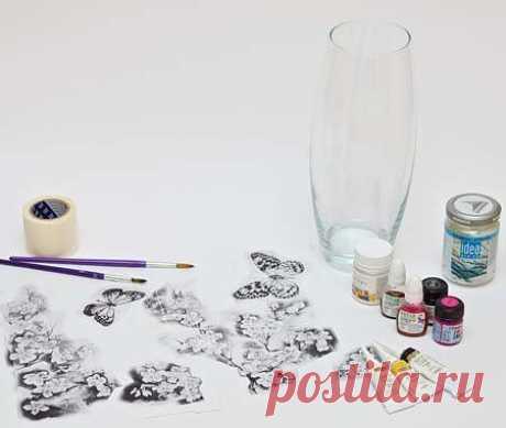 Витраж своими руками. Роспись вазы.Мастер класс как научится рисовать витражными красками - Руками.Инфо