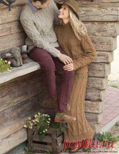 Костюм из свитера и юбки-макси спицами
