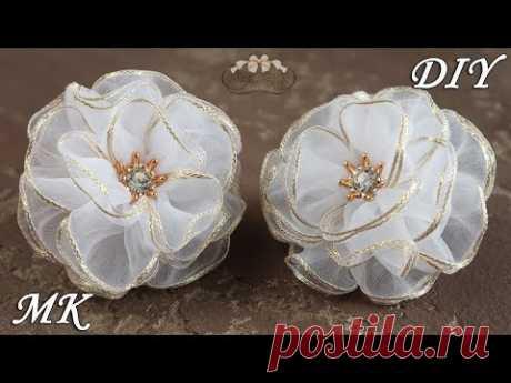 Простые цветы из органзы. Школьные бантики. Organza Bows DIY