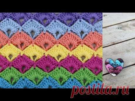 Point éventails en relief colorés Crochet