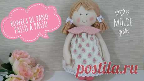 ❤️ Boneca de pano fácil passo a passo com molde para imprimir ❤️ cloth doll with mold ❤️ - Como Faço