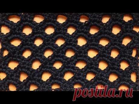 Чудесный Ажурный узор крючком  Плотная Сеточка Openwork Crochet pattern    109
