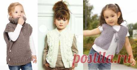 Безрукавки для девочек спицами. Описание, схемы вязания жилетки, красивые рисунки, узоры