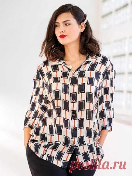 Блузка с рукавами 3/4 - выкройка № 402 из журнала 1/2020 Burda. Мода для полных – выкройки блузок на Burdastyle.ru