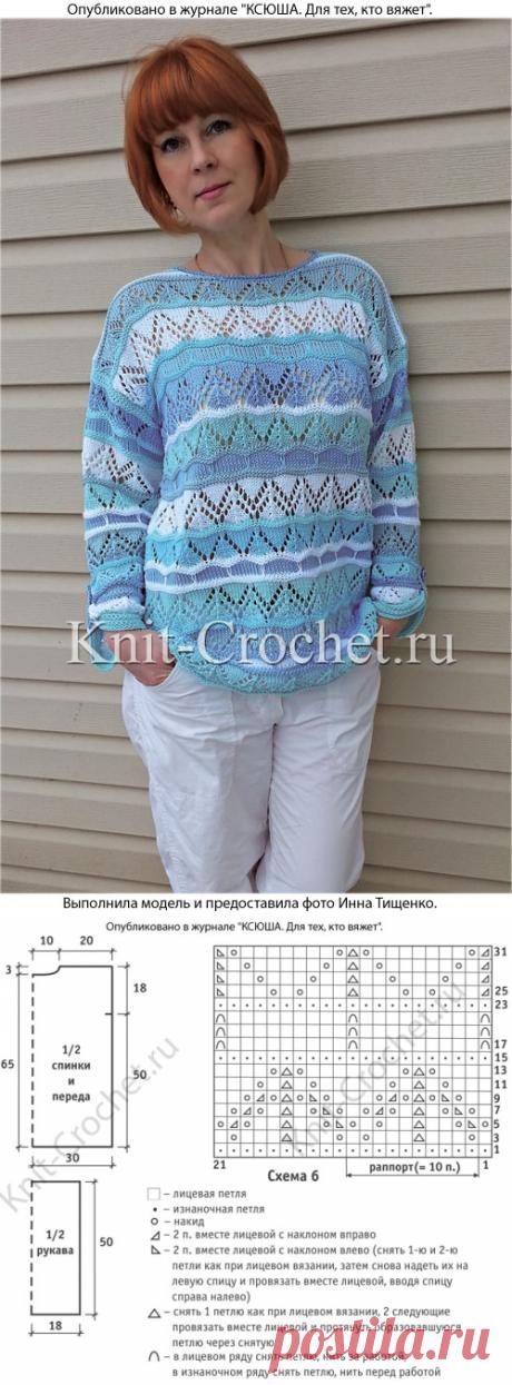 Пуловер «Аквамарин» на спицах. - Пуловеры женские спицами - Вязание спицами - Каталог статей - Вязание спицами и крючком