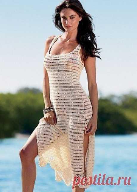 Пляжное платье крючком. Каталожное платье крючком схемы   Домоводство для всей семьи.