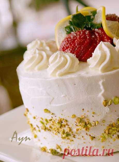 Бисквитный торт со сливками и клубникой | Мои Кулинарные Зарисовки
