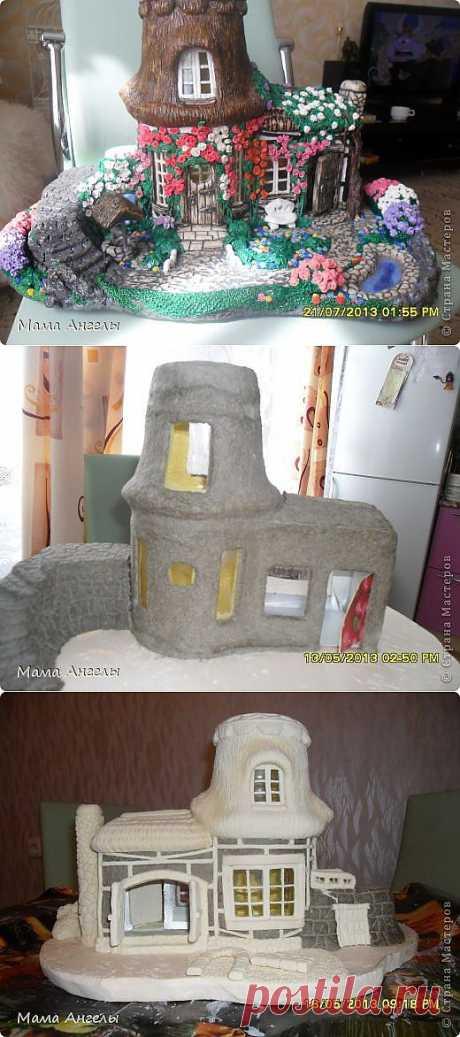 Домик-светильник в смешанной технике | Страна Мастеров