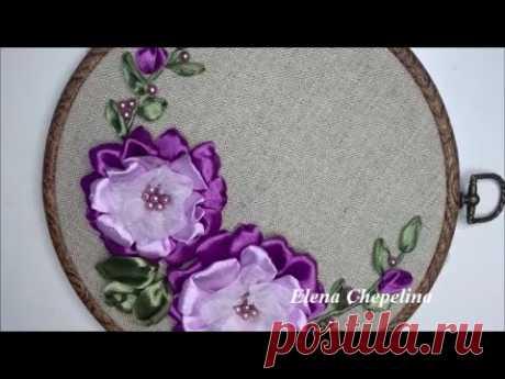 Красивый цветок из атласной и капроновой ленты своими руками. Вышивка лентами выдео уроки.