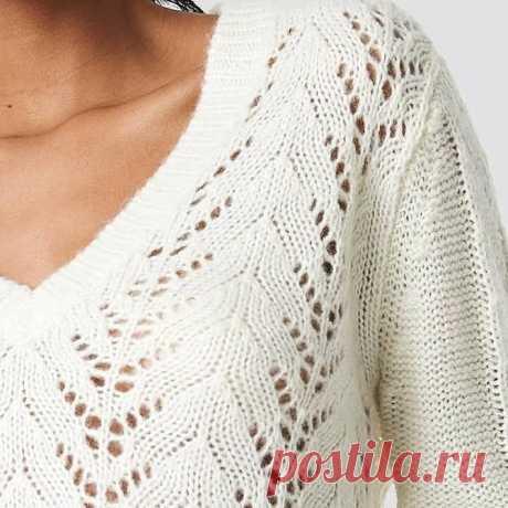 Вязаный пуловер с вырезом лодочка, схема вязания