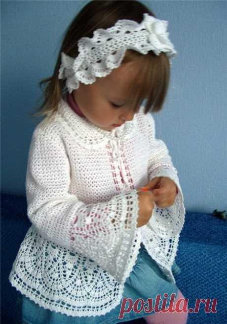 Белый жакет для девочки (Вязание крючком) | Журнал Вдохновение Рукодельницы