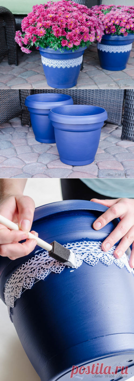 Flowerpot decor the hands.\u000d\u000aWill be necessary: ordinary-looking pot, aerosol primer, blue paint, lace, glue, free time and imagination!