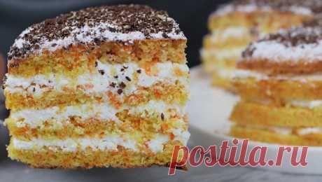 Нежный морковный торт с творожным кремом   Кулинарка   Яндекс Дзен
