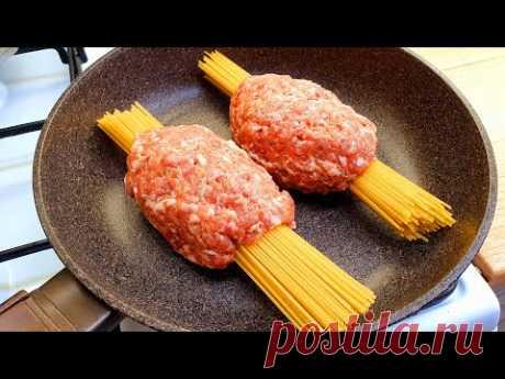 Спагетти с фаршем на сковороде за 20 минут + бонусное видео, чесночные грибы # 129