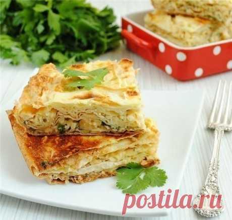 Пирог из лаваша с сыром и зеленью | Школа шеф-повара