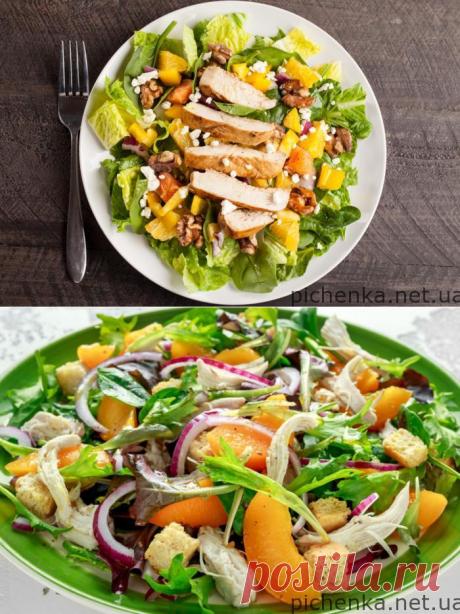 Салат с курицей и апельсинами   Вкусные рецепты