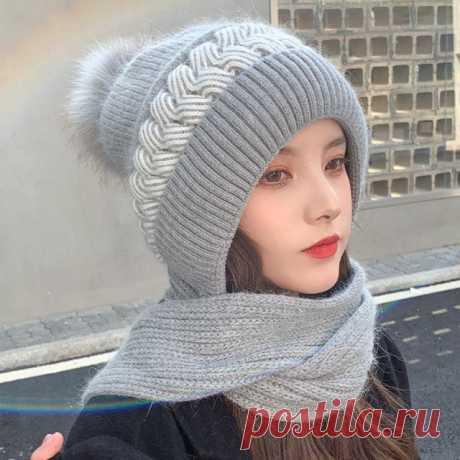 750р-Новинка 2021, модная женская зимняя теплая шапка из кроличьего меха с шарфом, женские защитные уши, вязаные шапочки, облегающие шапки | Аксессуары для одежды | АлиЭкспресс
