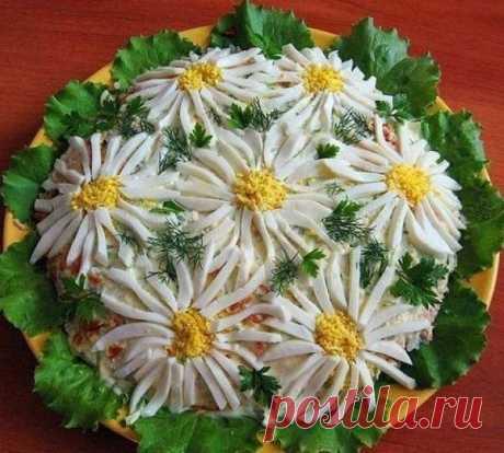 Как приготовить салат ромашковое поле - рецепт, ингредиенты и фотографии