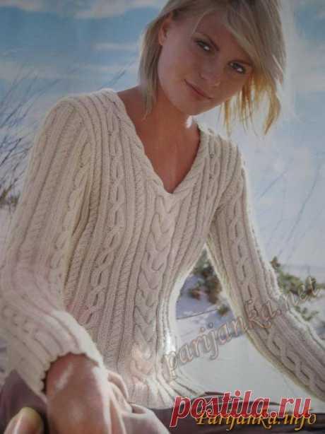 Вяжем с сайтом Парижанка спицами.Эффектный пуловер с V вырезом (ж) 124 ( Бержер )