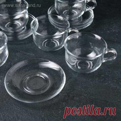 Сервиз чайный на 6 персон «Ташкент», 12 предметов: чашка 290 мл, блюдце (4782481) - Купить по цене от 853.00 руб. | Интернет магазин SIMA-LAND.RU