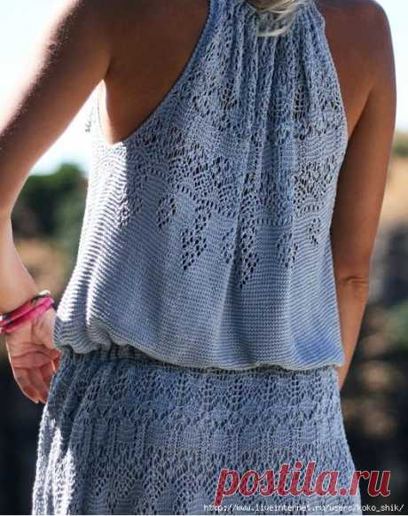 """Платье спицами """"Атлантида"""" от Жаннетты Мирмизетты. Вязали на Осинке. Шетландское кружево"""