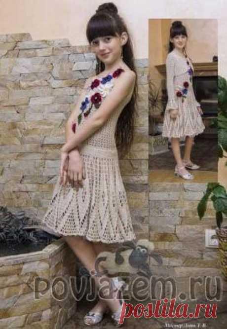 Платье крючком для девочки 9-10 лет и жакет