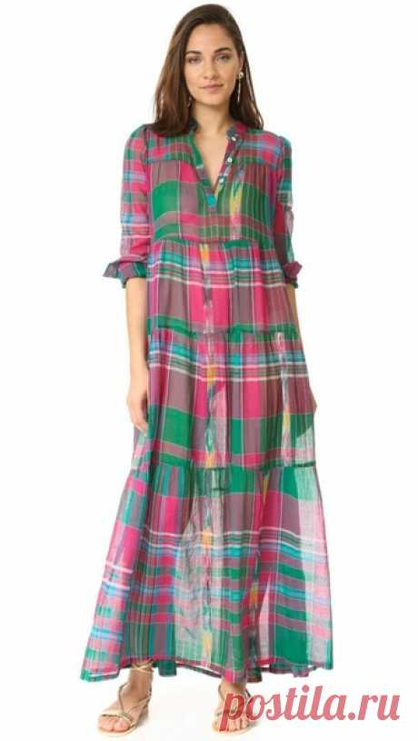 Платья макси из ткани в клетку - для вдохновения Подборка фото Шитье | простые выкройки | простые вещи  #простыевещи #шитье #платье #длявдохновения