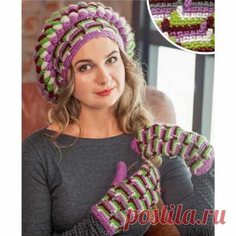 Вязание для женщин. Цветной берет и варежки крючком ⋆ Самые красивые узоры спицами Вязание для женщин. Цветной берет и варежки крючком, вязание крючком, пышный столбик, Adelia Fiona, вытянутый столбик
