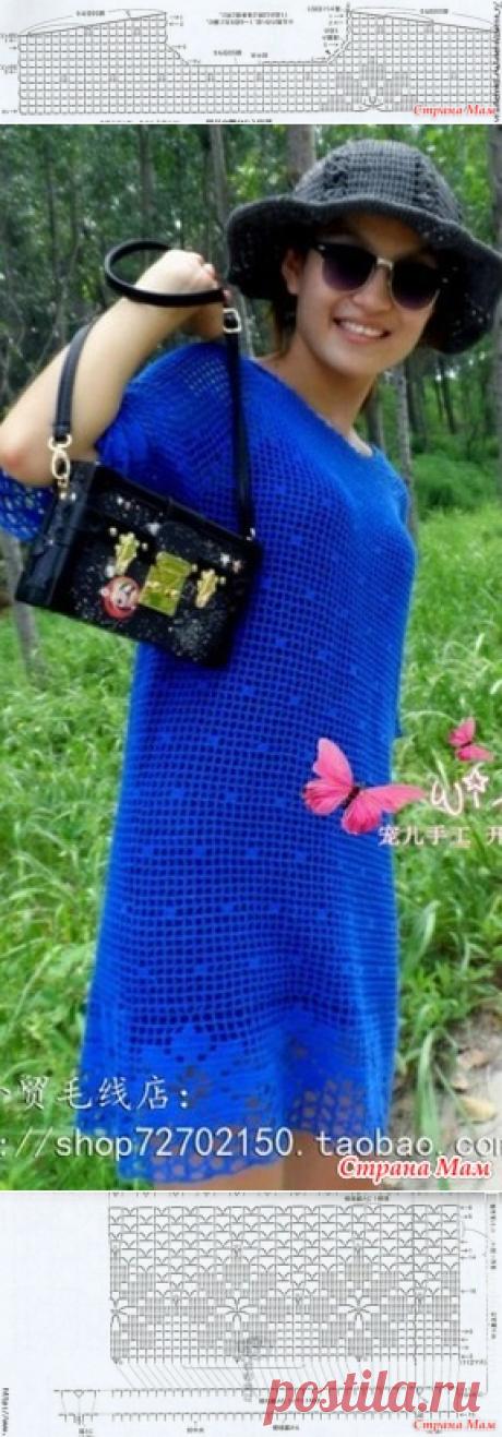 Синее платье крючком. - ВЯЗАНАЯ МОДА+ ДЛЯ НЕМОДЕЛЬНЫХ ДАМ - Страна Мам