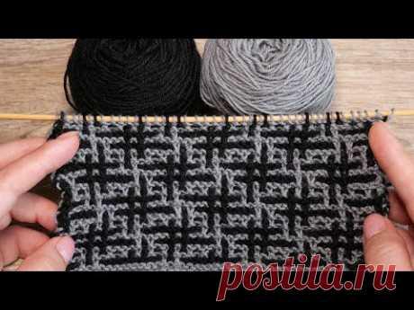 🧩 Узор «Хэштег» спицами – мозаичная техника вязания # «Hashtag» - Mosaic Knitting in Garter Stitch 🧩