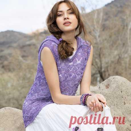 Романтичный лиловый топик с капюшоном