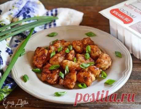Курочка генерала Цо. Ингредиенты: куриное филе, кукурузный крахмал, соль