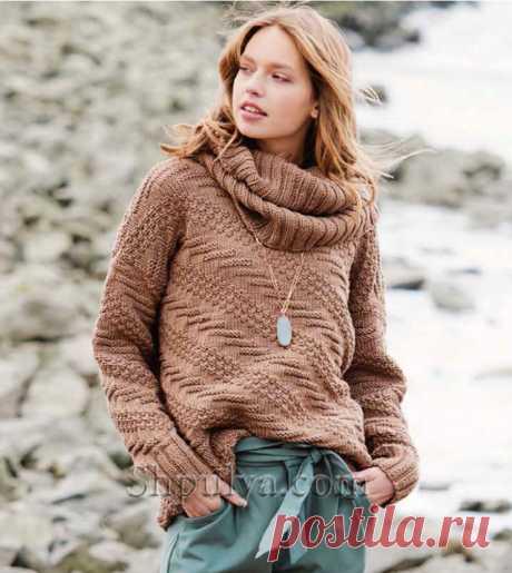 Пуловер с диагональными полосами и снуд спицами — Shpulya.com - схемы с описанием для вязания спицами и крючком