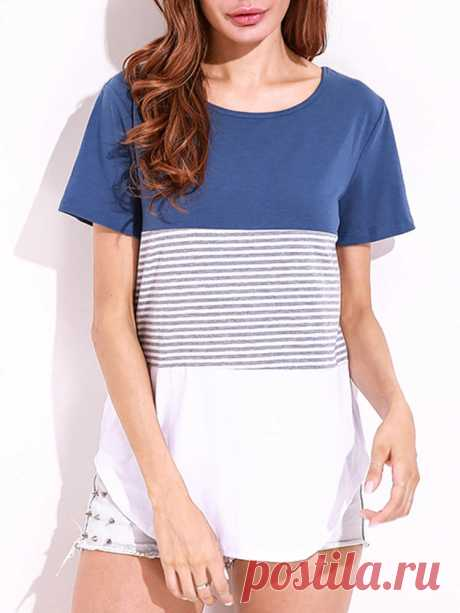 Celmia Women Casual O-Neck Short Sleeve Patchwork Curved Hem T-Shirts - US$13.99