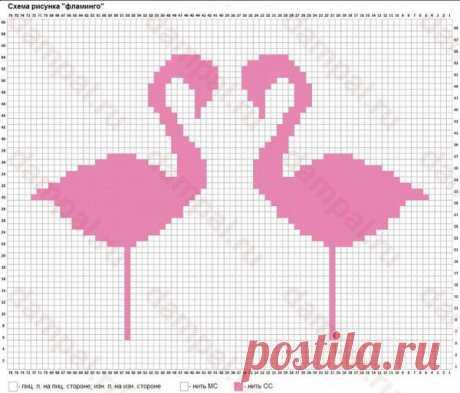 Узор Фламинго спицами