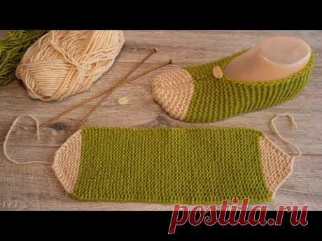 Вязаные следки за час спицами ⌚ Easy Knitted Slippers per hour ⌚ örme terlik