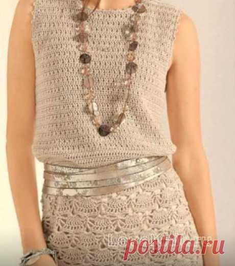 Приталенное платье с веерным узором схема крючком » Люблю Вязать