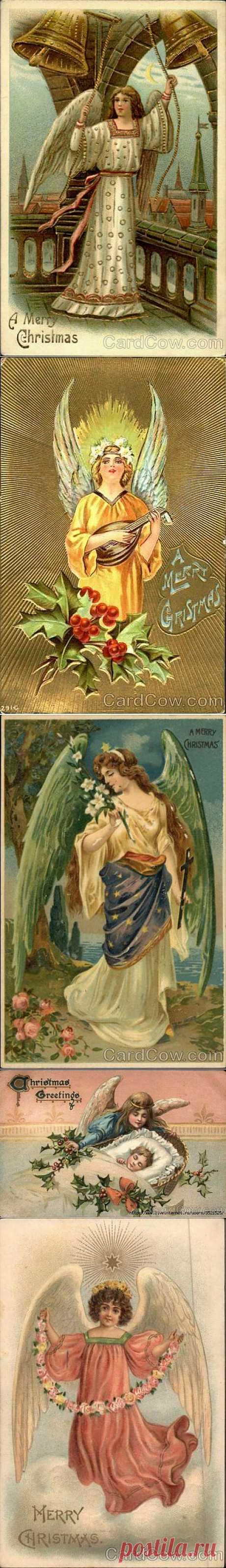 Рождественские ангелы со старых открыток.