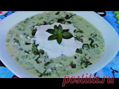 La okroshka para los días calurosos - refresca la sopa de pepinos fría bien, enfría y tonifica.