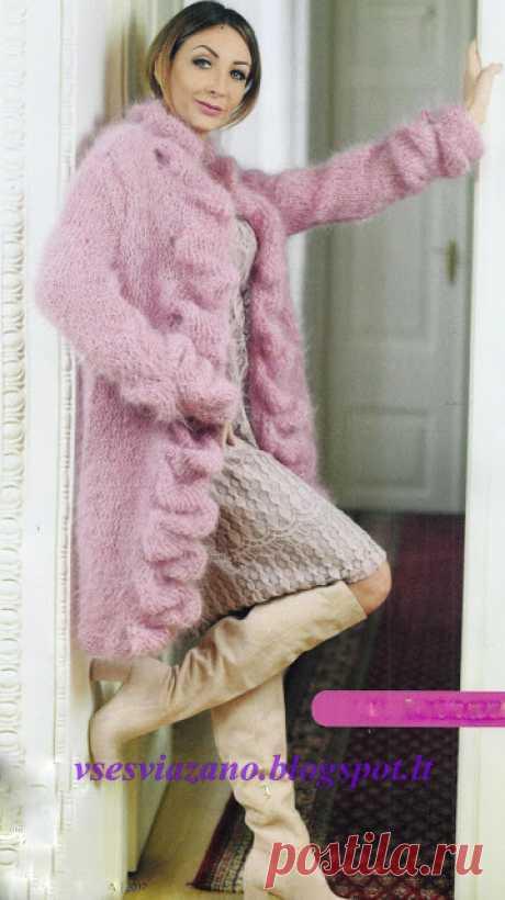 ВСЕ СВЯЗАНО. ROSOMAHA.: Вязаное пальто или жакет цвета пыльной розы.
