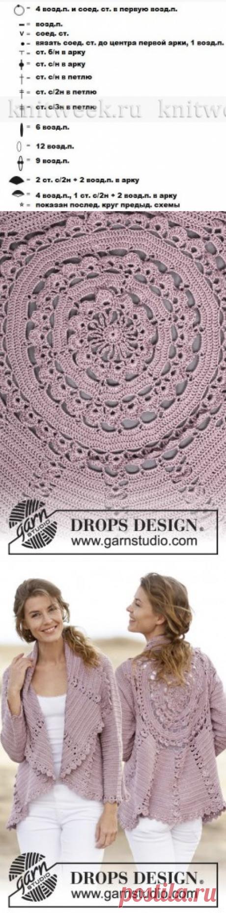 Интересный жакет крючком от DROPS DESIGN