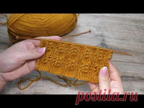 Ажурный узор спицами – рюши | Openwork knitting pattern | Ajurlu burgu modeli