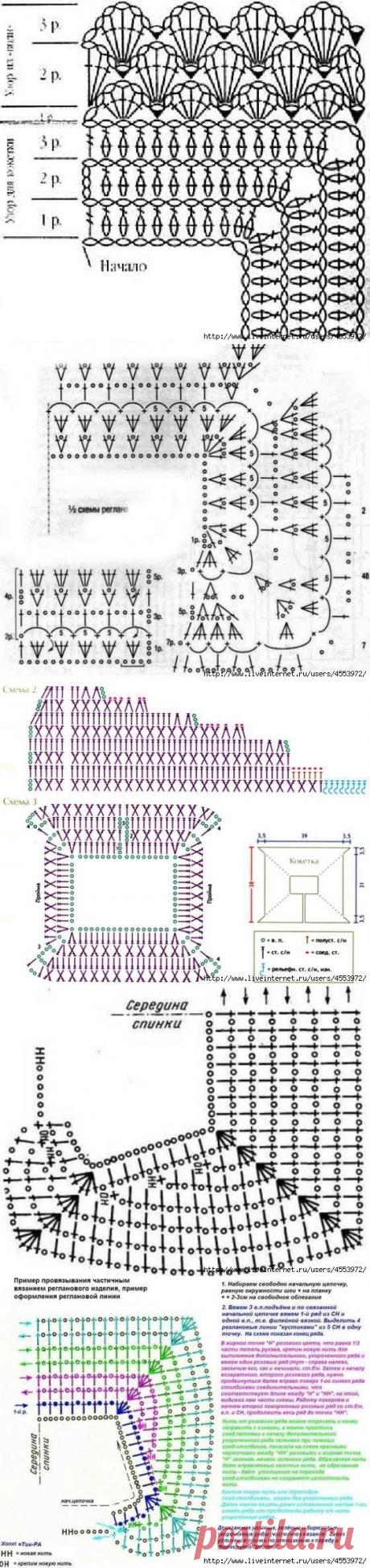 Схемы вязания крючком реглана. 1 | Вязание для начинающих. Уроки вязания спицами и крючком